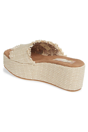 Wren Vegan Jute Fabric Natural Wedge Slide Sandal Back