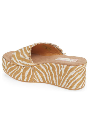 Wren Vegan Natural Zebra Woven Canvas Platform Sandal Back