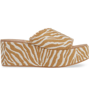 Wren Vegan Natural Zebra Woven Canvas Platform Sandal