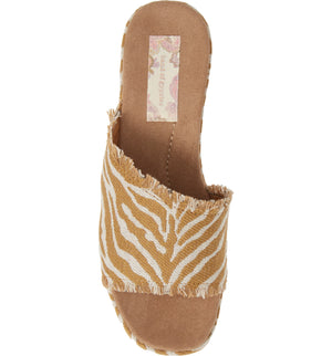 Wren Vegan Natural Zebra Woven Canvas Platform Sandal Top