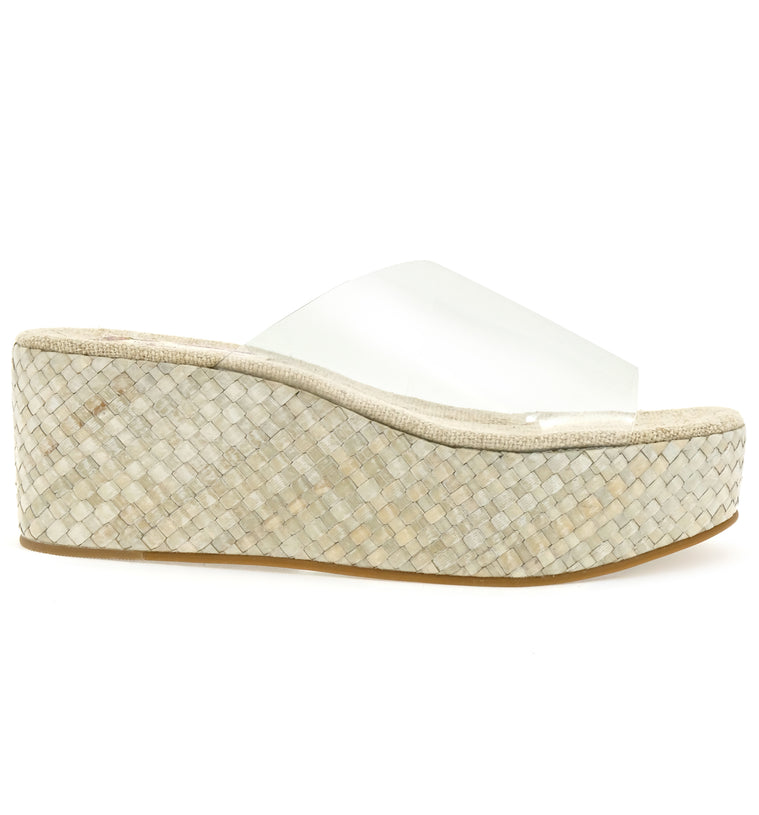 Wren Vegan Vinyl Rattan Clear Wedge Slide Sandal Side