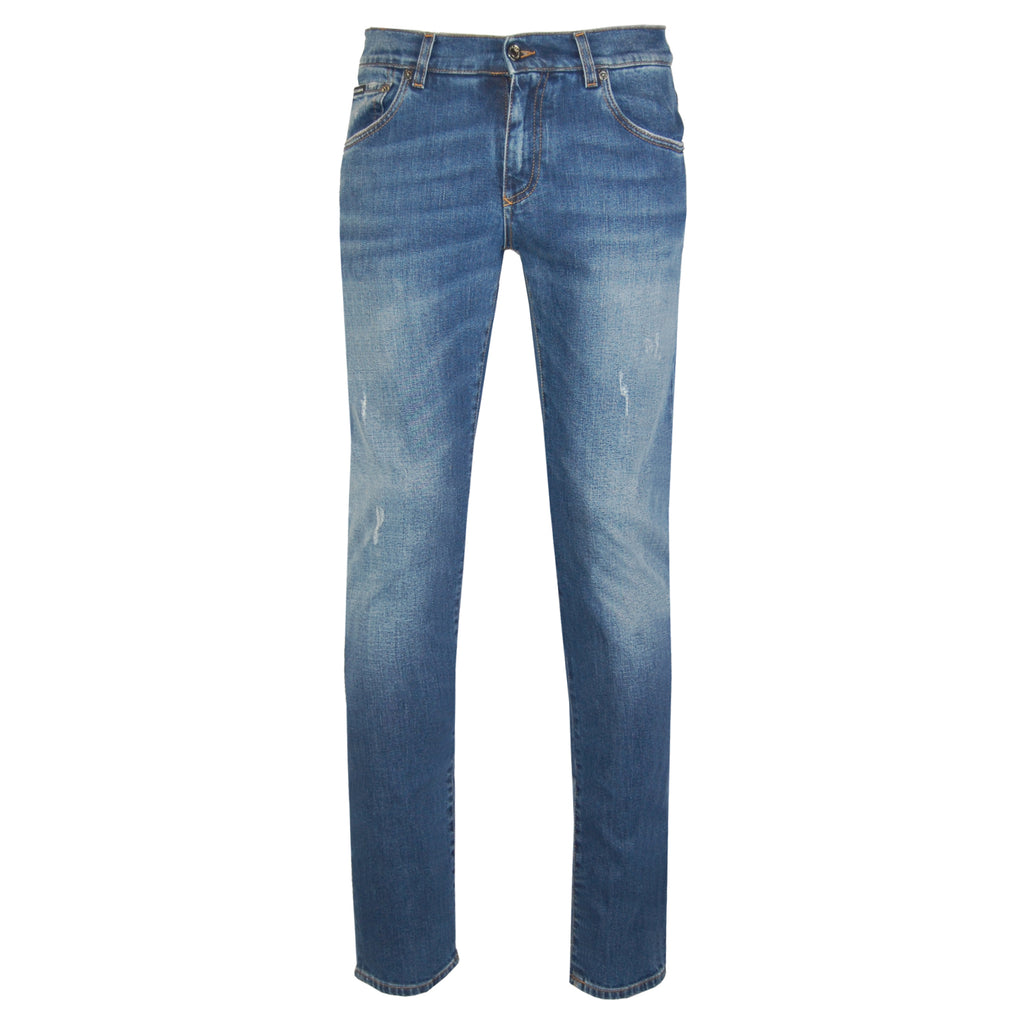 Dolce & Gabbana Gold Fit Stretch Jeans With Patch-JEANS