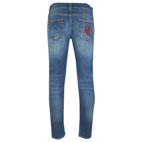 Dolce & Gabbana Gold Fit Stretch Jeans With Patch