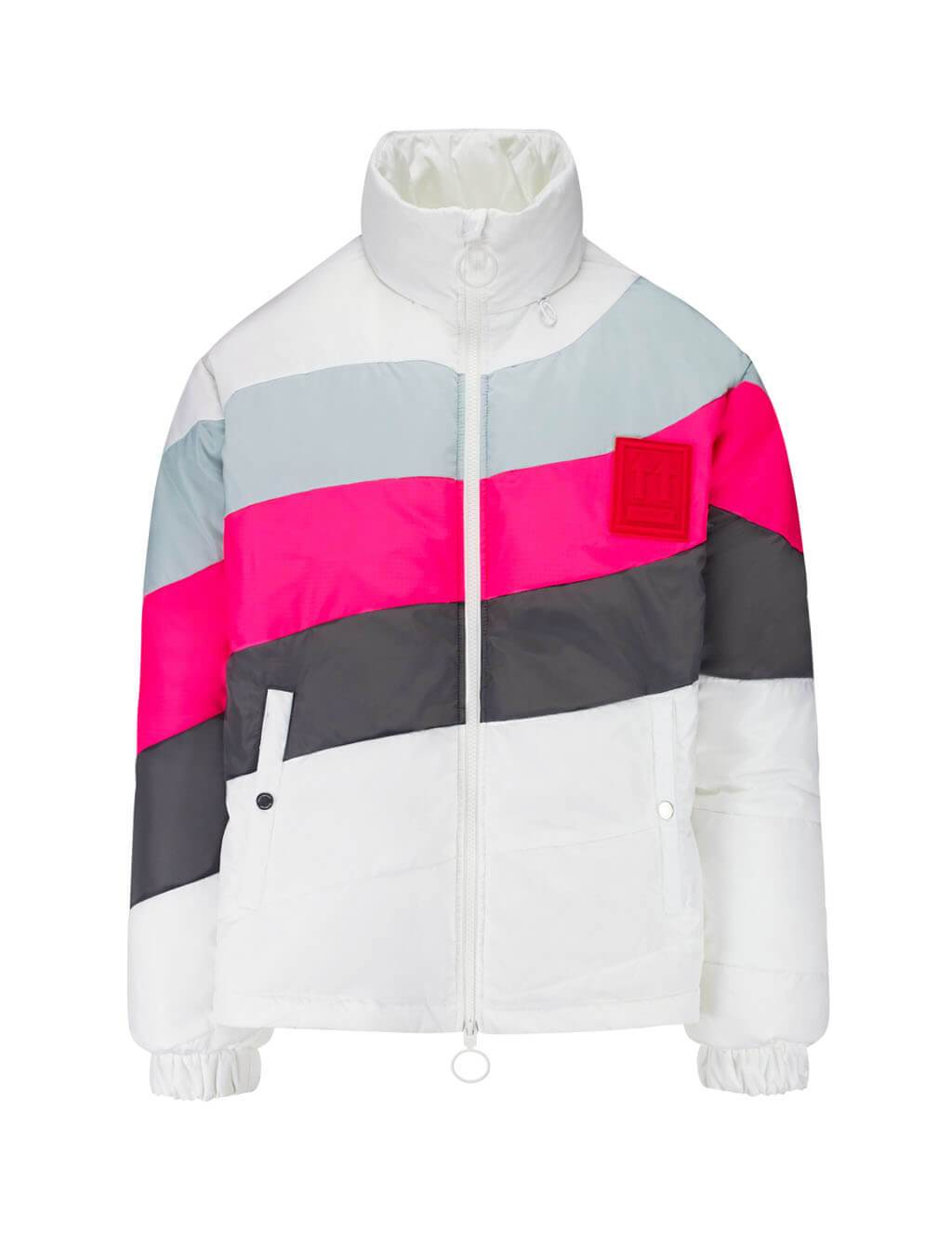 Off-White Contrasting Stripes Puffer Jacket