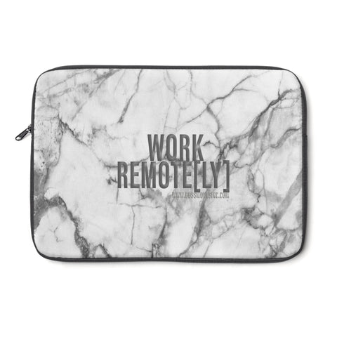 """WORK REMOTE[LY]"" Marble Laptop Sleeve - BOSSMOVESINC BOUTIQUE"