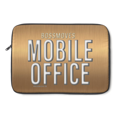 """MOBILE OFFICE"" Bright Bronze Laptop Sleeve - BOSSMOVESINC BOUTIQUE"