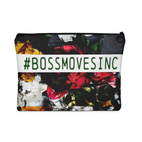 """#BOSSMOVES..."" FLORAL (Wht/Grn) Pouch"