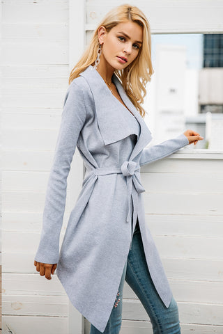 HER Giant Lapel Belted Sweater Coat - BOSSMOVESINC BOUTIQUE
