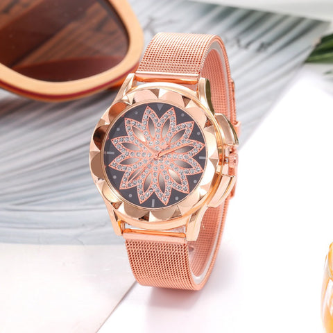 Women's Quartz Watch Rose w/ Gold Mesh Belt - BOSSMOVESINC BOUTIQUE