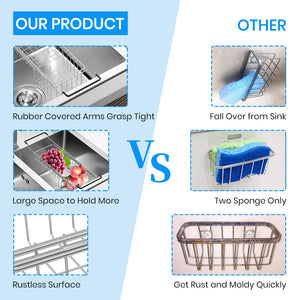 "Sink Caddy Sponge Holder Sponge Organizer Caddy Rag Detergent Brush Dishwashing Liquid Rack Expandable 14-3/4"" to 20"" Stainless Steel"