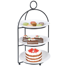 Load image into Gallery viewer, Cupcake Stand 3 Tiered Cake Dessert Fruit Cookies Appetizer Display Stand for Dessert Table Tiered Serving Tray Stand with 3 Melamine Plates 9 inch Width