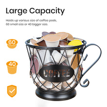 Load image into Gallery viewer, Coffee Pod Holder Mug Shape MultiUse K Cup Holder Kcup Storage Organizer for Counter Coffee Bar Black