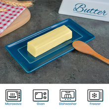 Load image into Gallery viewer, Butter Dish Ceramic Porcelain Butter Keeper Butter dish with Lid and Handle for Countertop Refrigerator Perfect for East West Coast Butter Navy Blue