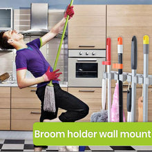 Load image into Gallery viewer, Broom and Mop Holder - 4 Position with 4 Hooks 15.7 in