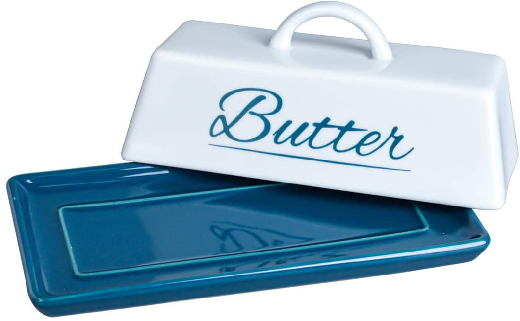 Butter Dish Ceramic Porcelain Butter Keeper Butter dish with Lid and Handle for Countertop Refrigerator Perfect for East West Coast Butter Navy Blue