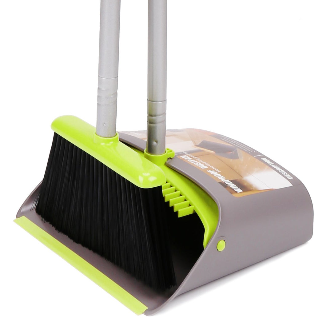 Broom and Dustpan&Dust pan Set-Upright Broom and Dustpan Combo with Long Extendable Handle for Lobby Kitchen Room Floor Best Cleaning Supplies