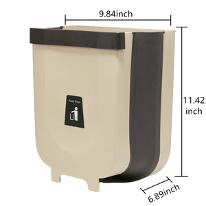 Trash Can 2.3Gallon for Kitchen Bathroom Outdoor - Brown Khaki