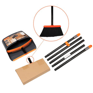 Broom and Dustpan Set, Sweep Set, Upright Broom and Dust pan Combo with 54 Inch Long Handle, Orange and Dark Grey