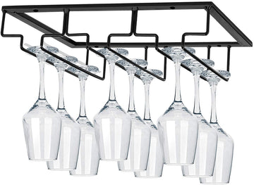 Wine Glasses Rack Under Cabinet Stemware Rack,Wine Glass Hanger Rack Wire Wine Glass Holder Storage Hanger for Cabinet Kitchen Bar (3 Rows)