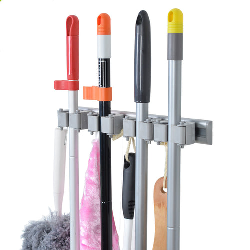 Broom and Mop Holder - 4 Position with 4 Hooks 15.7 in