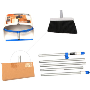 Broom and Dustpan Set, Sweep Set Upright Long Handle Stand Up & Store Indoor Outdoor for Home Kitchen
