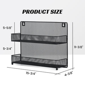 Wall Mount Spice Rack Organizer Mesh Seasoning Rack Hanging Spice Storage Holder for Door-Black-2 Pack 2 Tier