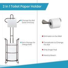 Load image into Gallery viewer, TreeLen Toilet Paper Holder Stand Bathroom Tissue Roll Dispenser Holder Free Standing with Storage Rack Reserves 4 Mega Rolls-Bronze