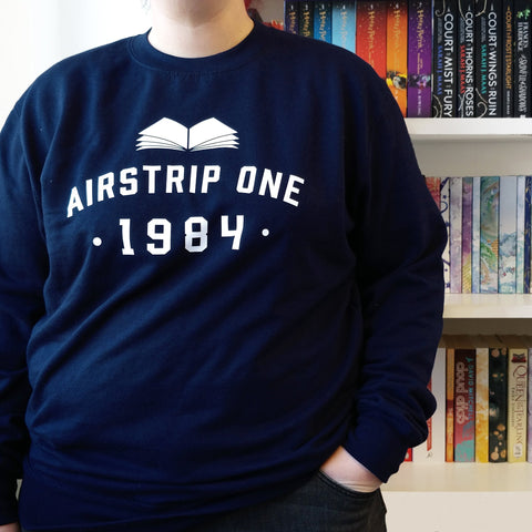 Literary 1984 'Air Strip One' Varisty Style College Sweatshirt
