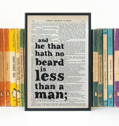 Shakespeare - He That Has No Beard Is Less Than A Man - Book Page - BOOK 41