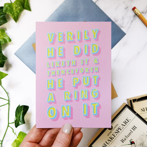 Greeting card - Funny Engagement 'He Did Liketh It' Shakespeare Card-322