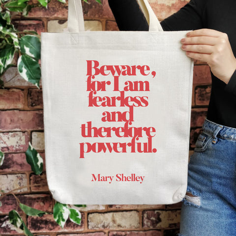 TB09 Empowering Quote Large Tote Bag - Beware For I Am Fearless
