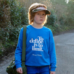 Positive Clothing for Kids 'To define is to limit' Oscar Wilde Sweatshirt