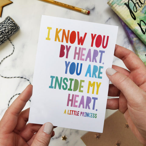 Rainbow 'I Know You By Heart' Child's Birthday Card - 350