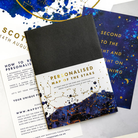 Personalised Map of the Stars Print Retail Pack