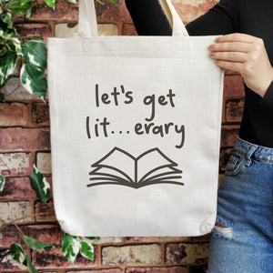 TB06 Bookish Large Tote Bag - Let's get lit...erary