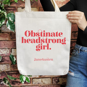 TB12 Empowering Quote Large Tote Bag - Obstinate Headstrong Girls