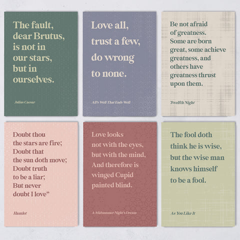 Shakespeare Quotes - 12 Postcard Set - PC6