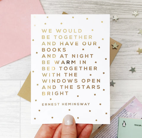 Greeting card - Together - Ernest Hemmingway - Foil Card - 330