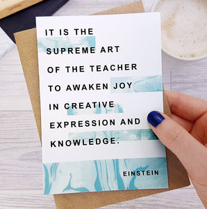 Greeting card - Literary Marble Thank You - Teacher - Einstein - 307
