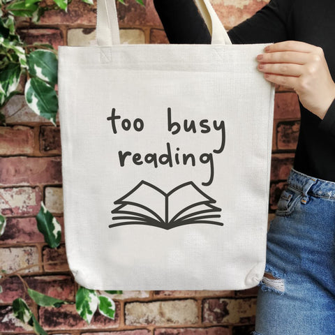 TB07 Bookish Large Tote Bag - Too busy reading