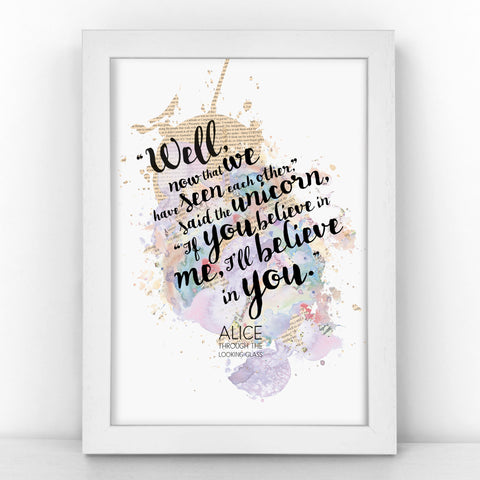 Alice Unicorn - If You Believe In Me, I'll Believe In You - Watercolour Print - BLOTWCOL101