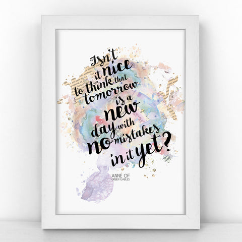 Anne of Green Gables - Isn't It Nice To Think - Watercolour Print - BLOTWCOL300