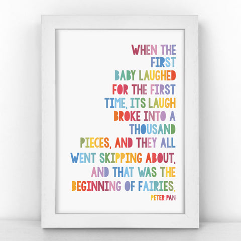 "Peter Pan ""Beginning Of Fairies"" - Heartwarming Quote - Children's Print - CM403-R/M"