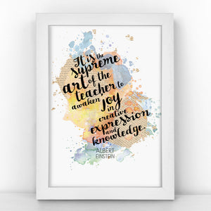 Einstein - Supreme Art Of The Teacher - Watercolour Print - BLOTWCOL301