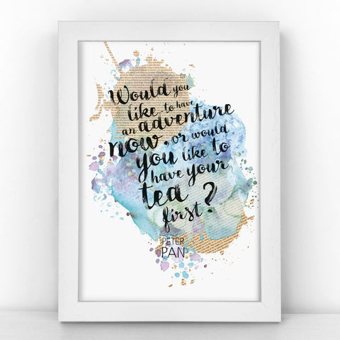 Peter Pan - Would You Like To Have An Adventure Now - Watercolour Print - BLOTWCOL400