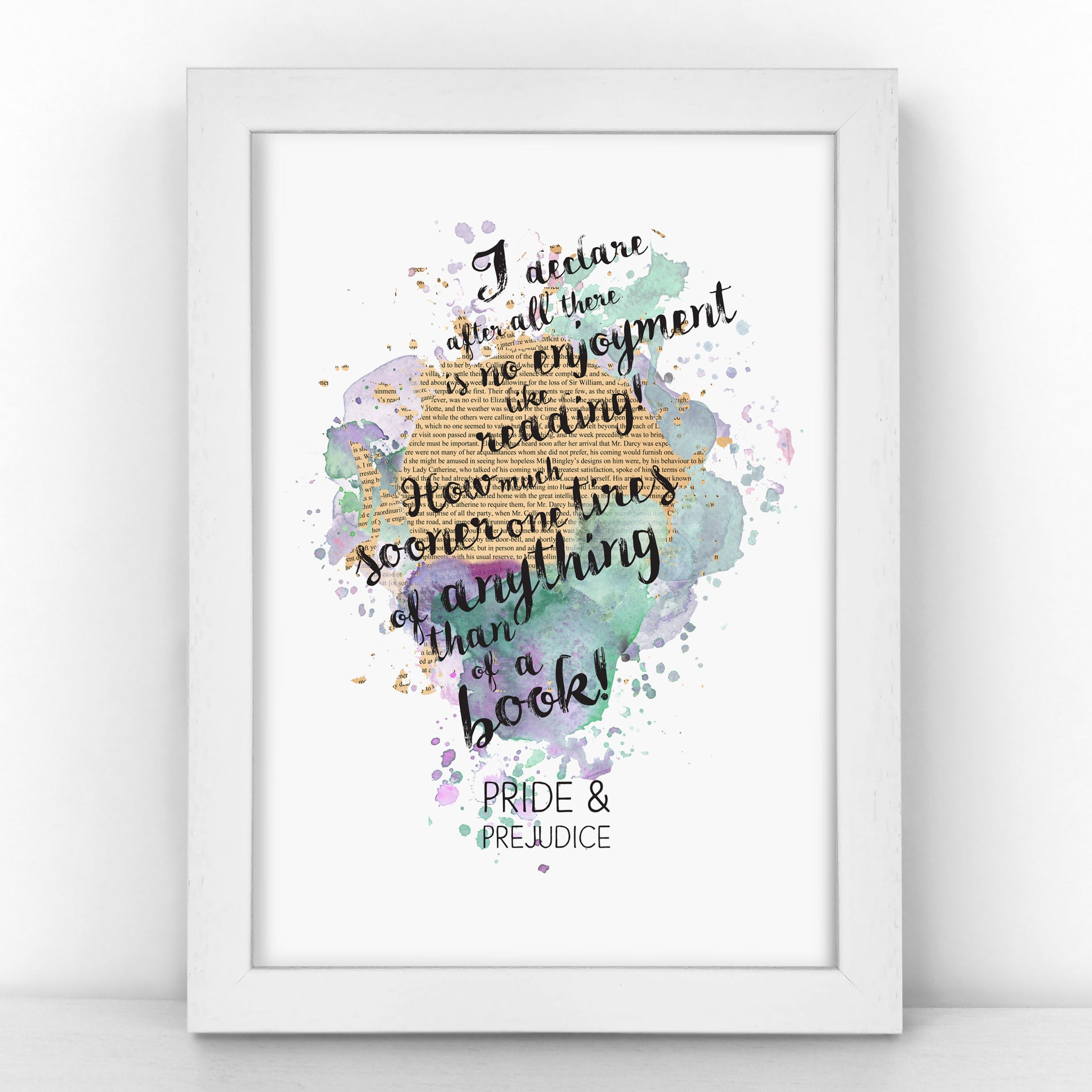 Pride & Prejudice - There Is No Enjoyment Like Reading -  Watercolour Print - BLOTWCOL395