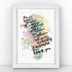 Pride & Prejudice - In Vain I Have Struggled -  Watercolour Print - BLOTWCOL305