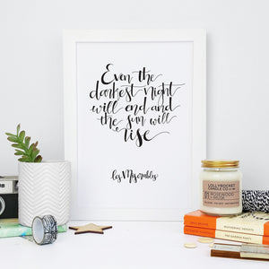 Monochrome - Darkest Night - Les Miserables - Calligraphy Print - CAL392-M