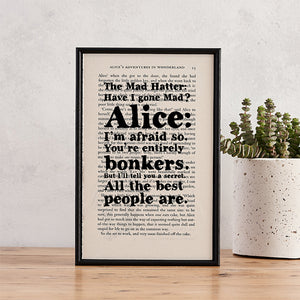 Alice in Wonderland - Have I Gone Mad? - Bonkers - Book Page - BOOK 42