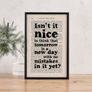 Anne Of Green Gables - Tomorrow Is A New Day - Book Print - BOOK 77